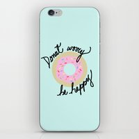 Donut Worry Be Happy iPhone & iPod Skin