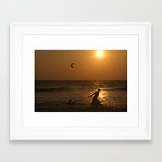 Playing in the Sea at Sunset Mandrem Framed Art Print