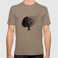 Autumn Birds Mens Fitted Tee Tri-Coffee SMALL