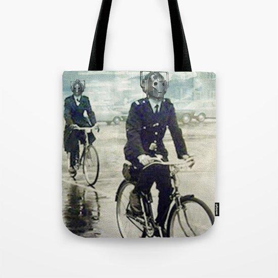 Cybermen on bikes Tote Bag