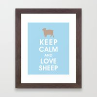 Keep Calm and Love Sheep Framed Art Print