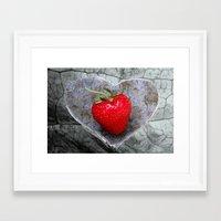 Strawberry Heart Framed Art Print