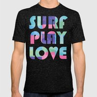 Surf Play Love Mens Fitted Tee Tri-Black SMALL