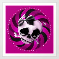 Girly Pink Skull With Bl… Art Print