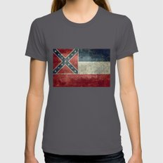 Mississippi State Flag -… Womens Fitted Tee Asphalt SMALL