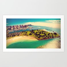Ala Moana Beach Park, Magic Island, and Diamond Head  Art Print