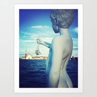 A kid and a frog in Venice Art Print