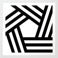 B/W stripy pentagon Art Print