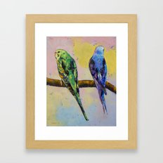 Green and Violet Budgies Framed Art Print