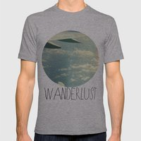 wanderlust airplane Mens Fitted Tee Athletic Grey SMALL