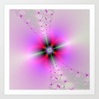 Floral Sprays in Pink and Green Art Print