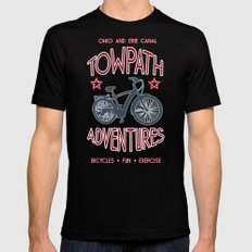 TOWPATH ADVENTURES Mens Fitted Tee Black SMALL