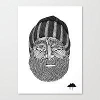 Bombastic Bearded Beanie Man Canvas Print