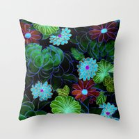 Oriental Blossom (night … Throw Pillow