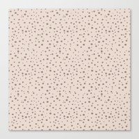 PolkaDots-Taupe on Peach Canvas Print