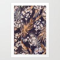 Golden oriental palms Art Print