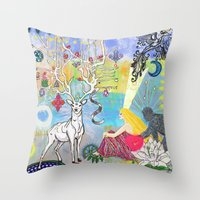 The Lovers and the blue deer  Throw Pillow
