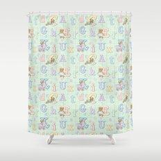 Teddy Bear Alphabet ABC's Green Shower Curtain