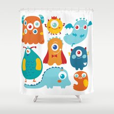 Aliens and monsters pattern Shower Curtain