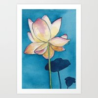 Lotus On Blue Art Print