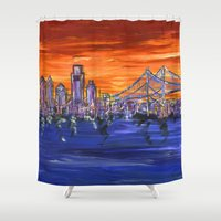 Ben Franklin Bridge Suns… Shower Curtain