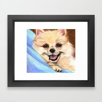 Preppy Pomeranian Framed Art Print
