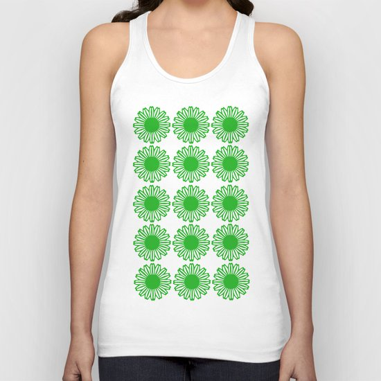 Vintage Flower_Green Unisex Tank Top