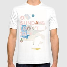 ON SUNDAYS I DON'T TALK Mens Fitted Tee White SMALL