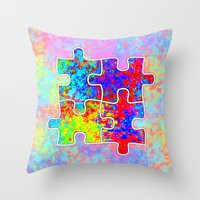 Autism Colorful Puzzle P… Throw Pillow