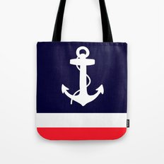 Navy, White & Coral Anchor Tote Bag