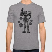 Metroid - Samus Aran Line Art Vector Character Poster Mens Fitted Tee Athletic Grey SMALL