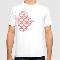 Moroccan Trellis Overlaps Mens Fitted Tee SMALL White