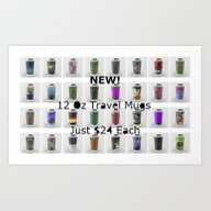 Art Print featuring NEW Travel Mugs by Aaron Carberry