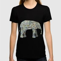Elephant Paper Collage I… Womens Fitted Tee Black SMALL