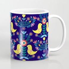 Folk Birds Blue Mug