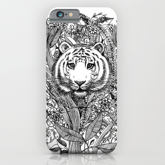 Tiger Tangle in Black and White iPhone & iPod Case