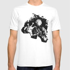 Leroy (Messy Ink Sketch) SMALL White Mens Fitted Tee
