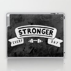 Stronger Every Day (dumbbell, black & white) Laptop & iPad Skin