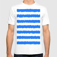 Blue Stripes Mens Fitted Tee White SMALL