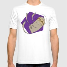 Sloth in Space White SMALL Mens Fitted Tee