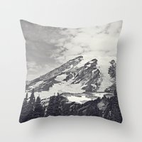 Mount Rainier B&W Throw Pillow