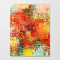 AUTUMN HARVEST - Fall Colorful Abstract Textural Painting Warm Red Orange Yellow Green Thanksgiving Canvas Print