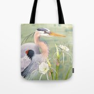 Great Blue Heron And Spi… Tote Bag