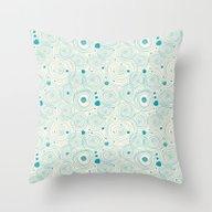 Blue Scribbles 04 Throw Pillow