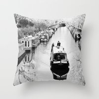 London canal during winter Throw Pillow
