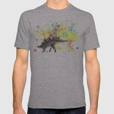 Stegosaurus Dinosaur in Splash of Color Mens Fitted Tee Athletic Grey SMALL