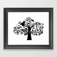 :) animals on tree Framed Art Print