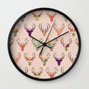 retro deer head blush Wall Clock