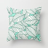 Sweet Leafs: Mint Throw Pillow
