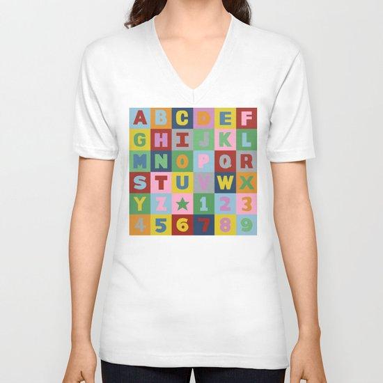 Alphabet V-neck T-shirt